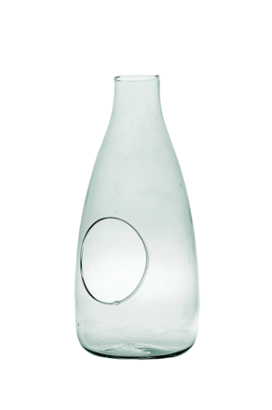 Glass bottle vase W-519+side hole H:33cm D:15cm