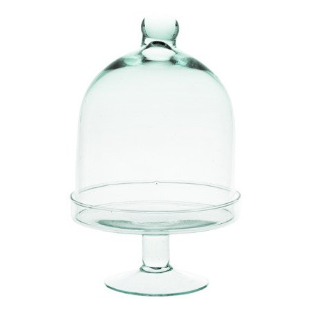 Glass cake stand with cover SET-231B H:28cm D:14cm