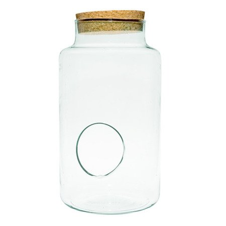 Glass jar vase W-395E+side hole+cork H:30cm D:19cm