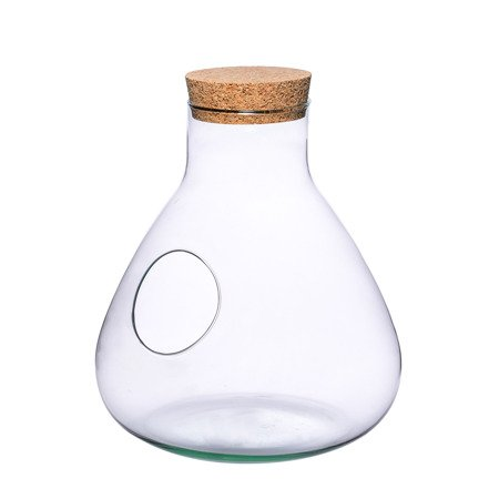 Glass vase W-378C+side hole+cork H:32cm D:29cm