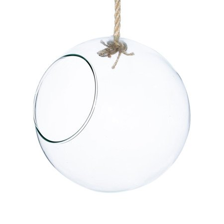 Hanging glass bowl with rope D:20cm